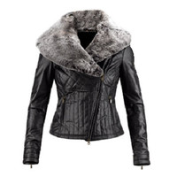 Ladies Washed 100% Soft Lamb Leather Faux Fur Collar Quilted Jacket: Small
