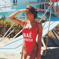 """BAE WATCH"" One Piece Swimsuit Red/White Letter Print Women Bathing Suit Monokini Bodysuit Swim Suit"