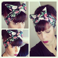 Black Pink Green Floral Dolly Bow Headwrap Bandana Hair Bow 1940s 1950s Style