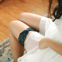 Navy lace garter, stretchy garter, simple wedding garter, keepsake garter - style #521