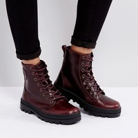 Palladium Pallabosse Regal Burgandy Leather Flat Ankle Boots at asos.com