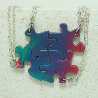Puzzle Necklace Friendship Jewelry Set of 4 Bright Multi Color mix Necklaces Polymer Clay