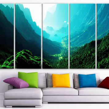 """XLARGE 30""""x 70"""" 5 Panels Art Canvas PrintBeautiful Nature mountain sunset canyon mountain river trees Wall Home (Included framed 1.5"""" depth)"""