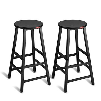 """Mr IRONSTONE Pub Height Bar Stools Set of 2, 27.7"""" Pub Dining Height Stools Bistro Black Table Chairs (Indoor USE ONLY) 2 Barstools(black)"""