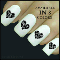 Valentine Nail Decals Heart Nail Designs 20 Waterslide Decals 8 Color Choices