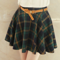 Cute sweet college wind plaid skirt