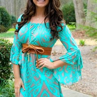 Tunic dress with a damask print in taupe & elastic neckline