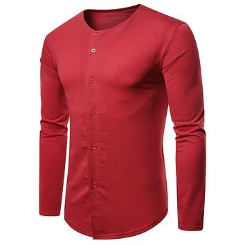 Solid Color Long Sleeve Button Up T-shirt