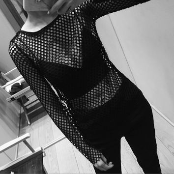 Transparent Sexy Round-neck Long Sleeve Tops T-shirts [11293718863]