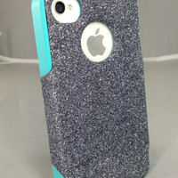 Otterbox Custom iPhone 4 Case, Glitter iPhone 4S Case, iPhone 4 Cover, iPhone 4S Cover, iPhone Cover Smoke Glitter Teal Silicone