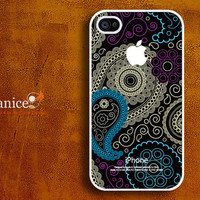 iphone case iphone 4s case iphone 4 cover sweet black background  classic blue flower unique Iphone case