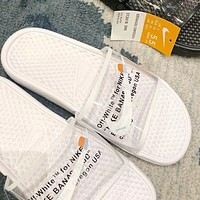 OFF WHITE x NIKE BENASSI Hot Sale Women Men Transparent Slippers Sandals Shoes White