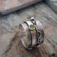 Spinner Ring with Gem Stones Twiddle Stoned by KBerlinMetalsmith