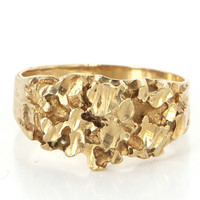 Vintage 10 Karat Yellow Gold Mens Nugget Cocktail Ring Band Fine Estate Jewelry