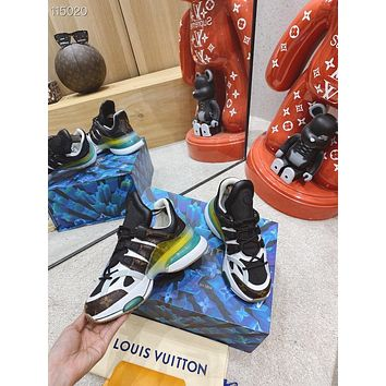 2021 LV Louis Vuitton Men's and women Leather HIGH Top Sneakers Shoes WHITE BROWN