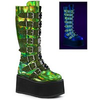 Demonia Green Holographic Buckled Knee High Platform Boots