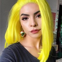 Short Scabish Lemon Yellow Synthetic Lace Front Wig