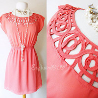 NEW Forever 21 Salmon Pink Cage Cutout Neckline CUTE Summer Casual BOHO Dress