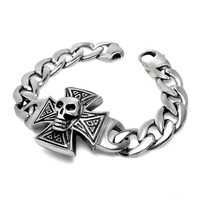 Awesome Great Deal Stylish New Arrival Shiny Gift Hot Sale Sea Skull Ring Punk Cross Rack Bracelet [6542701187]