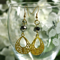 Gold Charm Beaded Fancy Fashion Dangle Earrings