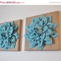 """MOTHERS DAY SALE Two Wall Canvases -Dusty Blue Dahlia Flowers on Burlap 12 x12"""" Canvas Wall Art- Rustic Home Decor-"""