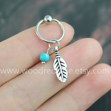 4 Colors Bead--Turquoise Cartilage Hoop Silver Leaf Boho Tragus Helix Piercing,Feather Cartilage Hoop earrings,Leaf Cartilage Hoop Earring