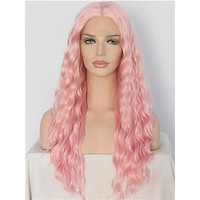 Long Cymbidium Soft Pink Curly Synthetic Lace Front Wig