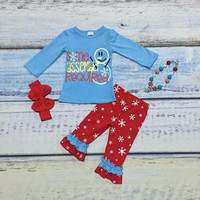 Christmas fall/winter baby girls kids wear snowman outfits cotton top snowflake print cute ruffles pants matching necklace bow