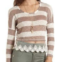 High-Low Striped Shirt with Crochet by Charlotte Russe