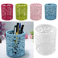 Metal Hollow Rose Flower Design Cylinder Pen Pencil Pot Holder Container Vintage Women Makeup Brush Holders