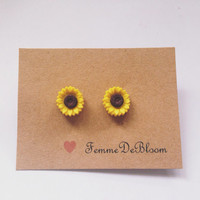 Sunflower Handmade Stud Earrings Vintage Inspired