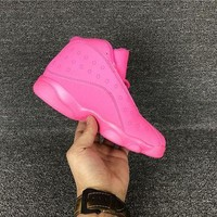 PEAPON3A VAWA Kids Air Jordan 13 Retro High Basketball Shoes Pink Red