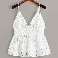 Eyelet Embroidery Knot Back Cami Vest Tank Top
