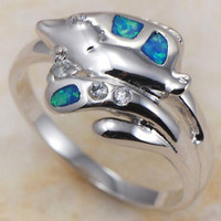 Silver Plated Blue Stone Cubic Zirconia Fish Ring
