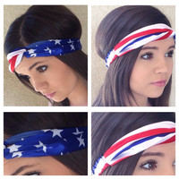"""Stars and Stripes Patriotic Nights"" American Flag Headband, HeadWrap"