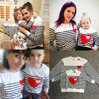 2016 cotton t-shirt striped mother mommy and me daughter father baby clothes matching family clothing sets family look