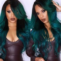 Shaggy Wavy Blackish Green Ombre Synthetic Stunning Long Side Parting Wig For Women