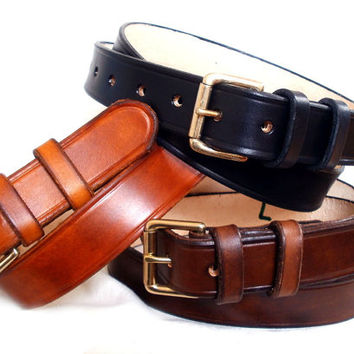 """Men leather belt, brown, black or tan, 1 1/4"""", solid brass roller buckle with 2 fixed leather loops, custom leather belt"""