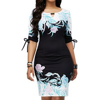 felainse29 digital print slim bag hip plus size elastic professional dress women
