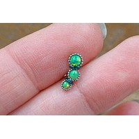3 Green Opal Cartilage Piercing, Helix Earring