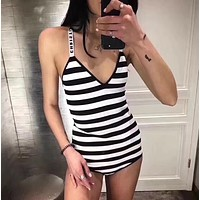 Dior Women Fashion Print One Piece Swimwear Bikini Swimsuit