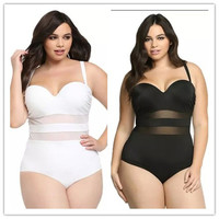 High quality Woman Bandage Beach Swimsuit Pure Color One-piece Bikinis Set Plus Size High Waist Push Up Bathing Suit Swimwear