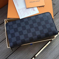 Hipgirls Louis Vuitton LV Classic Women Leather Zipper Wallet Purse Clutch Bag Black