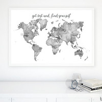 """36x24"""" Black and white watercolor world map printable. Grayscale world map. Get lost and find yourself, dorm decor for him - map033 C"""
