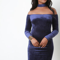 Rib Velvet Choker Collar Bardot Dress