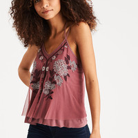AEO Embroidered Mesh Cami, Blush