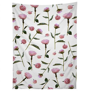 Lisa Argyropoulos Peonies on White Tapestry