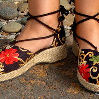 Embroidered Black Floral Espadrille Ankle Wrap Shoes