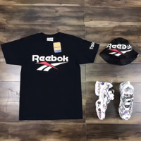 Reebok Summer trendy classic color large log black and white T-shirt Black