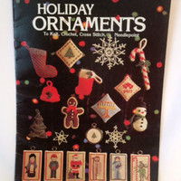 Christmas Holiday Ornaments Cross Stitch Pattern Needlepoint Knitting Crochet Vintage Crafts 1977